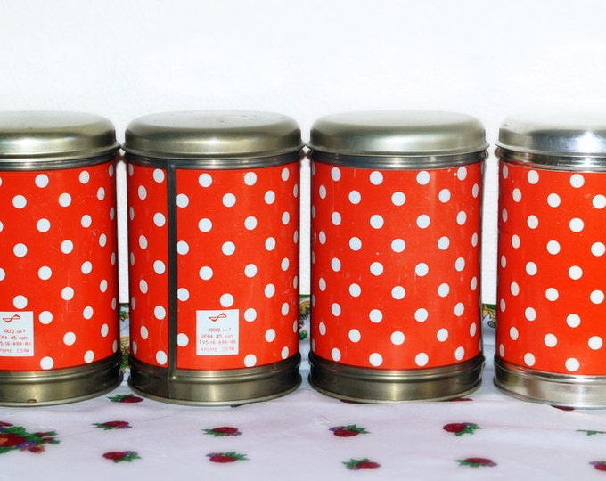 Vintage kitchen tins - Set of 4 tins - Soviet kinchen containers