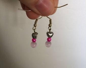 Pink Heart Love Earrings