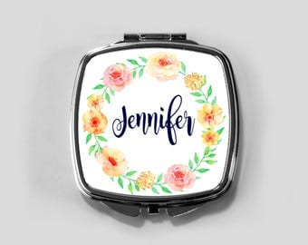 Personalized Mirror Case - Orange Rose Wreath - Compact Mirror Case Gifts for Her Monogrammed Gifts Perfect Spring Accessory