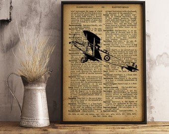 Vintage Style Airplane Print, Antique Plane Old dictionary paper Background, Airplane artwork print, Village Wall Decor, Gift for him Ai24