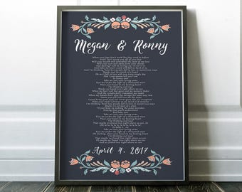 Gift  Wife Wedding Song Poster, Thinking Out Loud Wedding song lyric art, anniversary gift for wife, unique bridal shower gift, wedding art