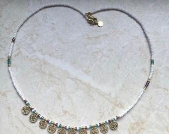 Coin necklace turkish tughra kuchi evil eye white