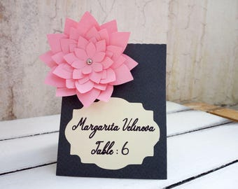 Place card wedding, Pink flower name tag, Gray seating cards, Wedding escort cards, Paper table decoration, Elegant paper cards for wedding