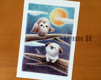 Little Dog with an Owl Postcard set of 5