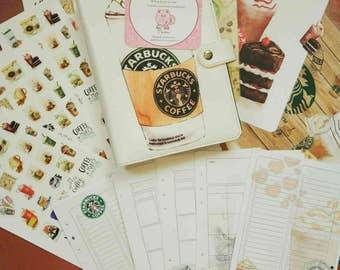 Planner a5 size 6 ring with starbucks design