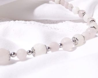 "Exclusive gemstone chain ""Innocent Love"" Rose Quartz and Crackle agate"