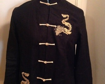 Black Chinese Jacket with Embroidered Gold Dragons