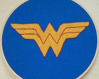 Wonder Woman Logo embroidery/ Wonder Woman hand embroidery/ Wonder Woman Logo