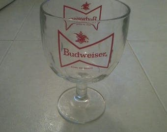 Vintage BUDWEISER Goblet Glass Footed W/thumbprints TIE Logo