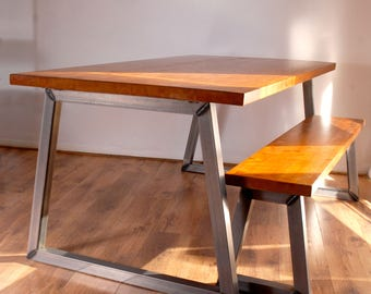 Industrial Vintage Rustic Dining Kitchen Table Bench Set with BLACK Legs. Solid Wood & Steel - Rustic Light Oak Finish