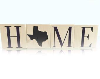 Home Wood Blocks Texas Home Decor Wood Letter Blocks Hand