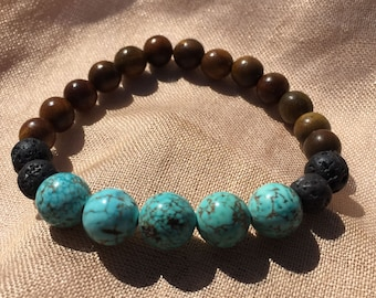 Turquoise Howlite, black lava and rosewood bead diffuser bracelet, essential oils, boho, diffuser jewelry, bohemain, beach, summer
