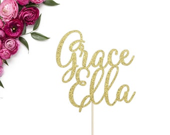 Custom Name Cake Topper | Birthday Cake Topper | First and Middle Name Topper | Baby Shower Cake Topper | Personalized Name Cake Topper