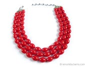 Vintage Red Beaded Multistrand Necklace, Jewelry 1950s Mid-century, Summer Mod, Plastic, 3 Strand, En Esclavage, Classic