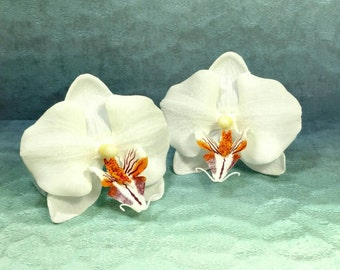 Orchid Hair Clips - Set of 2 White Orchid Hair Flowers, Orchid Hair Flowers, Hair Accessories, White Hair Flowers, Realistic Hair Flower
