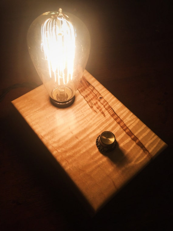 Figured and Ambrosia Maple Wood Block Desk Lamp with Gibson Guitar Knob and Edison Bulb
