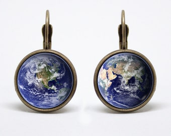 Earth earrings Planet Earth earrings Earth jewelry Earth jewellery Planet earrings Outer space Planet jewelry Blue planet Solar system World