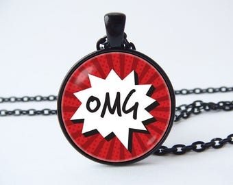 Phrase necklace OMG Speech bubble OMG pendant Geeky jewelry Comic necklace Comic pendant Oh My God tag Texting necklace Emoticon pendant