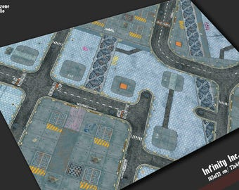Battle mat: Infinity Inc. - sci-fi city-fight modern future industrial terrain for miniature wargames Infinity, Warhammer 40k battle field
