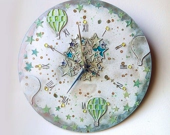 Hot air balloon clock, Wall Clock, Wall Clock with hot air balloon, Handmade wall clock, Stars wall Clock, Children clock, Kids wall clock