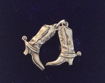 Sterling silver cowboy boots charm vintage # 1110