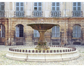 Provence photography, Aix-en-Provence fountain, rustic home decor, French home decor, French country decor, travel photography, 16x24 print