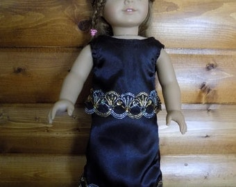 """American or 18"""" doll black evening skirt with Gold and Silver rhinestone trim with Miss America crown included."""