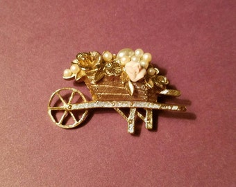 Small Garden Wagon Brooch Vintage Gold Tone
