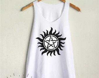 Anti Possession Tank Top Supernatural Shirt Tattoo Women Tank Clothing