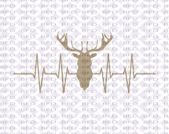 Hunting Deer ekg ecg Deer lover Hunting Craft Supplies Cuttable design file SVG, PNG, EPS