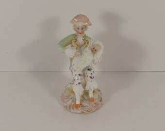 Vintage Miniature Dresden Lace Figurine of Mother Holding Her Baby.