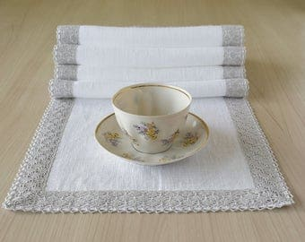 Delightful Natural Lace And Linen Table Runner Pure White Table Runner Long Table  Scarf 120 Inch X