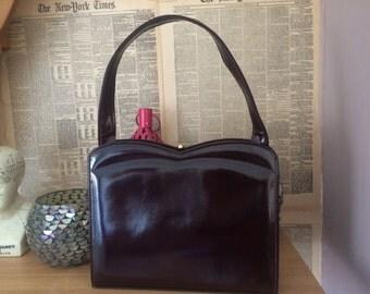Vintage leather kelly bag/hepburn/1950s bag/Ackery London