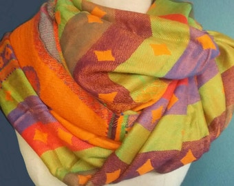 Orange pashmina, 2 tone pashmina, orange shawl, orange scarf, pashmina wrap, large pashmina, gift idea, gift for her