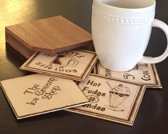 Handmade Coasters from old Ice Cream Shop advertising