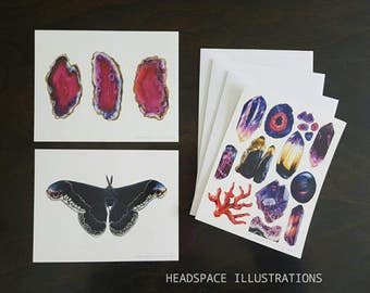 Crystal Moth A6 Blank Notecards 3 Pack Greeting  Thank you Anniversary Gift Colored Pencil Art Cards by Headspace Illustrations
