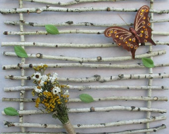 birch branch decor, wall decor, rustic wall decor, white birch brances, natural decor, dried flower arrangement, floral arrangement
