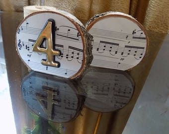 Table numbers, birch table numbers, music table numbers, music wedding, rustic wedding