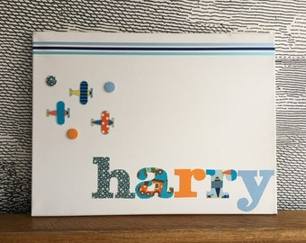 "Personalised decorative peg board - with fabric aeroplane icons - 18"" x 24"" - harry"