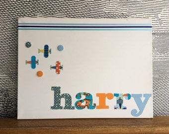 "Personalised decorative peg board - with fabric aeroplane icons - 18"" x 24"" - harry"
