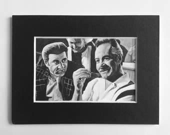 THE SOPRANOS fridge magnet - Paulie and Silvio at the Bada Bing - miniature print of 'All Due Respect' acrylic painting by Stephen Mahoney