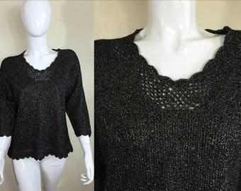 90's Vintage Black Metallic Sparkle Lurex Threading Boat Neck Sweater S/M