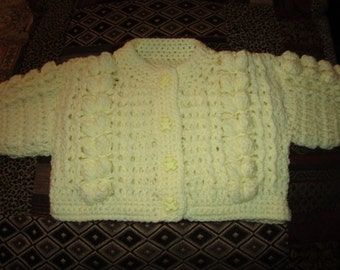 Hand crocheted Bobble Baby Cardigan