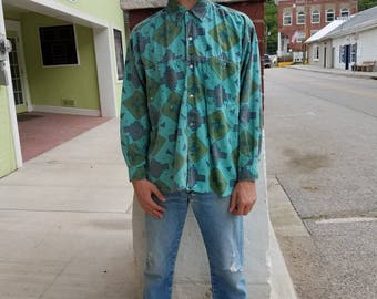 Vintage 1980s 80s Green washed western Aztec tribal print button up shirt Men's medium