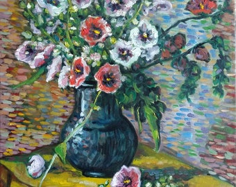 "Original Oil Painting, Flower in Vase II, 1703311, 20""x16"""