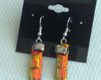 Orange Dichroic Earrings-Fused Glass Earrings- Dichroic Glass Earrings-Orange Glass Earrings - Orange Drop Earrings
