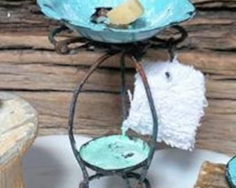 OOAK miniature shabby chic wash stand in scale 1:12