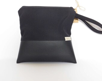 Clutch // Travel Pouch // Cosmetic Bag // Black on Black Print // True Leaf Collection