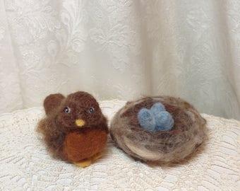 """Wool Robin with Nest of Eggs Set by Artist Elsa Jo Ellison 2.75"""""""