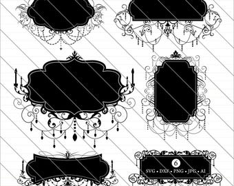 Chandelier Frames SVG, Chandelier Frames Clipart, chandelier svg Cut File,DXF,PNG Use with Silhoutte Studio & Cricut Instant Download